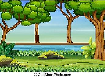 湖, 自然, 木, 風景