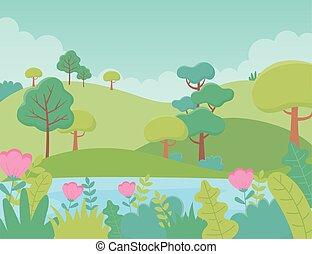 湖, 花, 群葉, 風景, 牧草地, 草木の栽培場, 自然, 木, 丘, イメージ