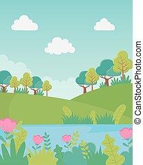 湖, 花, 群葉, 風景, 草木の栽培場, 丘, 自然, 木, イメージ