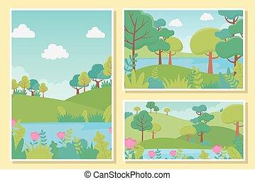 湖, 花, 群葉, 風景, 草木の栽培場, 木, 自然