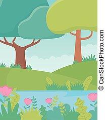 湖, 花, 群葉, 風景, 草木の栽培場, 自然, 木, 丘, イメージ