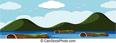 湖, 風景, 丸太
