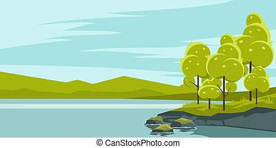 湖, 風景, 夏
