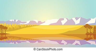 湖, 風景, 山