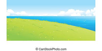 湖, 风景, 绿色