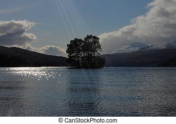 湖, 高地, perthshire, tay