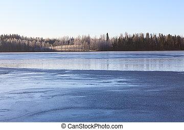 湖, finland, 冬季, scape