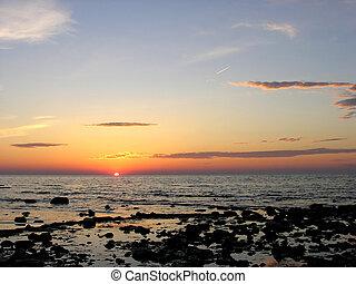 湖, huron., 日落