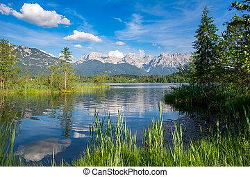 湖, karwendel, barmsee, 山