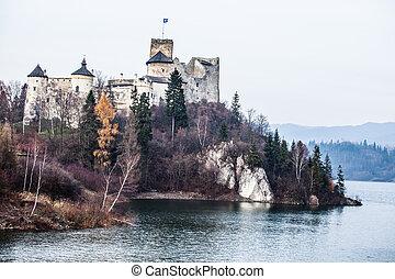 湖, niedzica, czorsztyn, ポーランド, 城