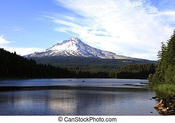 &, 湖, oregon., 山。, trillium, 敞篷