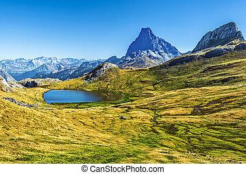湖, paradis, 山, フランス語, 大西洋, october., ピレネー山脈, 見られた