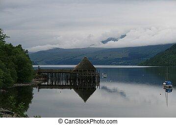 湖, perthshire, tay, crannog