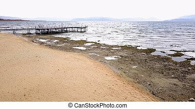 湖, prespa, 中に, macedonia, 中に, 11 月, , 写真撮影