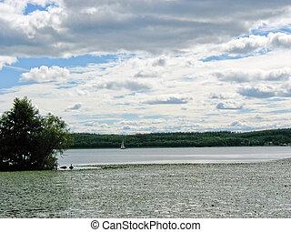 湖, (sweden), sigtuna, 森林地帯