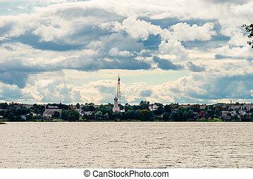 湖, valday, 上に, a, 雨, day., 光景, の, 都市, の, valdai