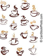 湯気をたてているコーヒー, カップ, セット