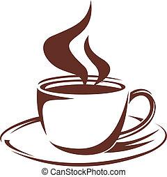 湯気をたてているコーヒー, フルである, 焼き肉, カップ