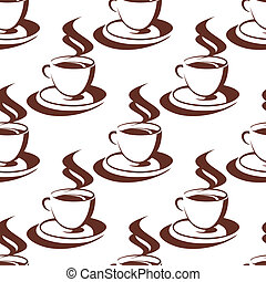 湯気をたてる, パターン, コーヒー, seamless, カップ