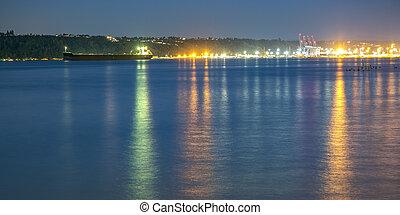 湾, ライト, 日没, 反射, タコマ, ボート