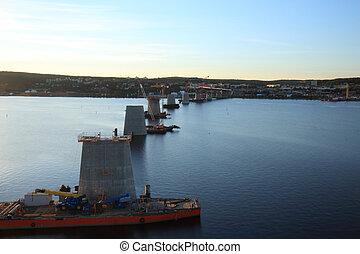湾, 柱, 横切って, 橋