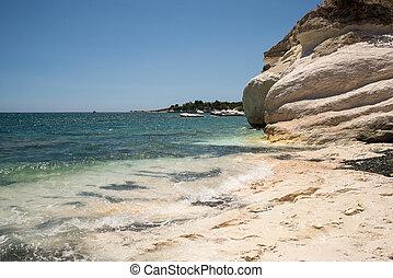 湾, 浜, キプロス, kalymnos, 光景