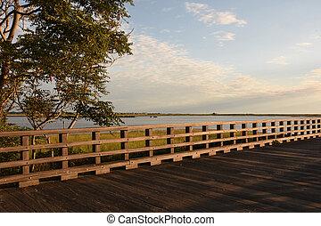 湾, 粉, ポイント, 素晴らしい, 光景, duxbury, 橋
