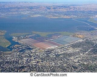 湾, francisco, 航空写真, san, 光景