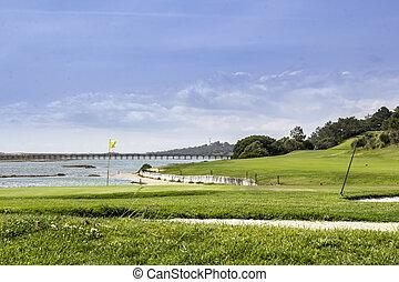 湿地, ゴルフ, ポルトガル, コース, 海景, 予備, 景色, algarve, フォーモサ, ria
