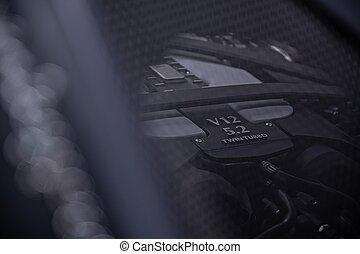 満たされる, スポーツ, v12, ターボ, engine., 自動車