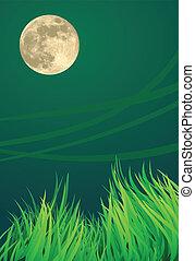 満月, イラスト, 夜