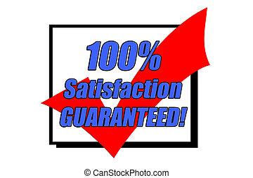 満足, 100%, 概念, guaranteed