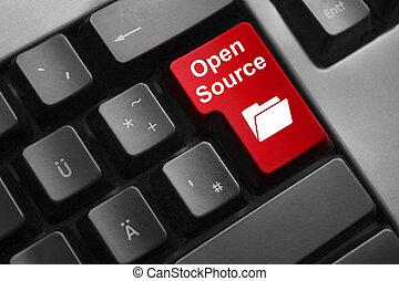 源, ボタン, 開いた, 赤, キーボード