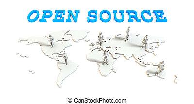 源, 世界的である, 開いた, ビジネス