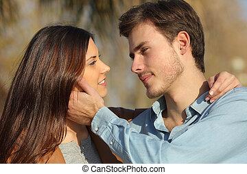 準備ができた, 公園, 恋人, 愛, 接吻