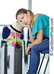準備ができた, 旅行, 女, 彼女, スーツケース