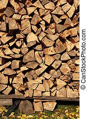準備ができた, 木杭, 木材を伐採する, 冬