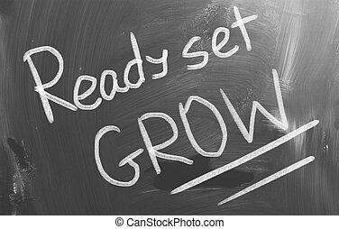 準備ができた, 概念, セット, 成長しなさい