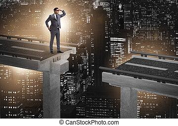 準備ができた, 橋, ビジネスマン, 勝ちなさい, 壊される