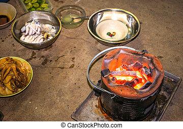 準備ができた, 火鉢, イカ, 焼けている