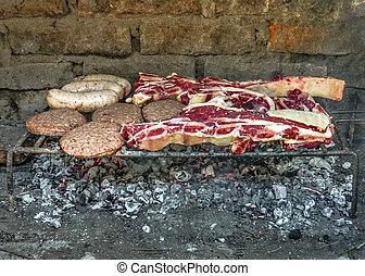準備ができた, 焼けている牛肉