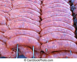準備ができた, 肉, 焼けている, 食べなさい