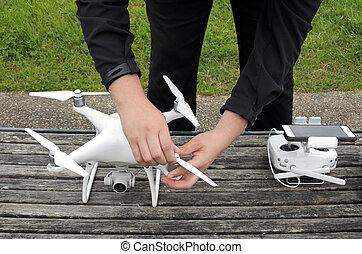 準備する, 人, 無人機, 飛行