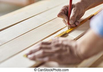 準備, の, 木製の板, によって, 大工