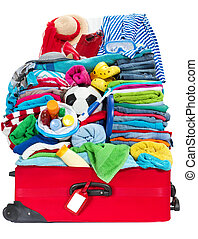 準備, 何か, luggage., 個人的, 旅行, 積み過ぎられる, resort., 隔離された, 休暇, ホリデー, belongings., concept:, 海, スーツケース, 白, パックされた, パック