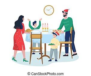 準備, 家族, 助け, お祝い, 祝う, 夕食, 子供, クリスマス。
