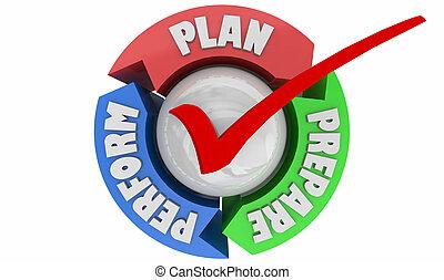 準備, 成功, 執行, 實踐, 插圖, 計劃, 准備好, 週期, 3d