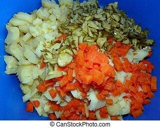 準備, -, 沙拉, 土豆