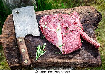 準備, 藥草, 烤, 紅色, 牛肉