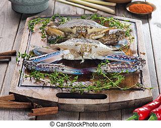 準備, 螃蟹, 烹調, 香料, 未加工